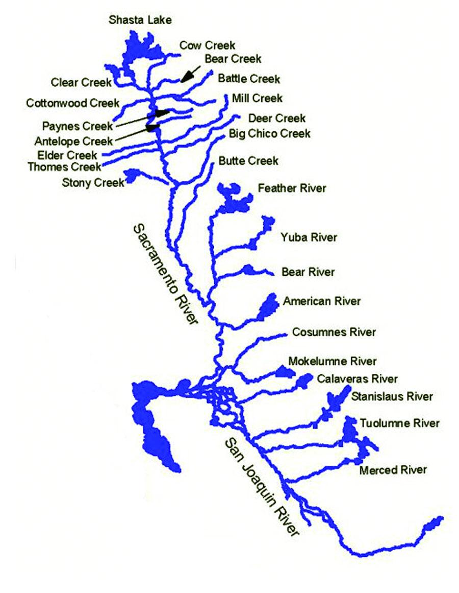 HExam - Rivers in california map
